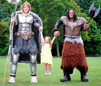 A young fan prepares for battle with Irish and Scottish legends Fionn Mac Cumhaill and Angus the Giant at the launch of the Lough Boora Discovery Park Battle of the Giants event.
