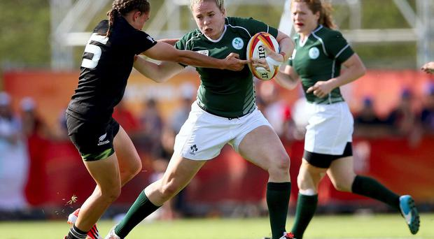 Niamh Briggs in action against New Zealand