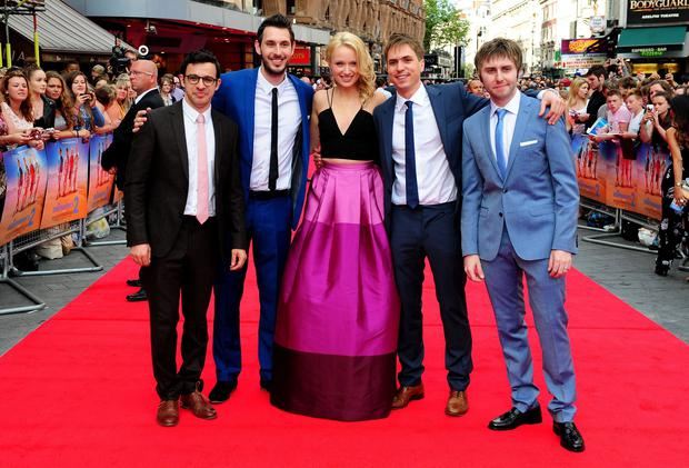 (Left to right) Simon Bird, Blake Harrison, Emily Berrington, Joe Thomas and James Buckley attending the premiere of new film The Inbetweeners 2 at the Vue Cinema in London