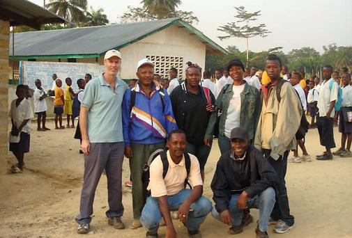 Alistair Short (back left) is head of Operations for Concern in Liberia.
