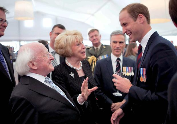Tribute: President Michael D Higgins and his wife Sabina with Prince William