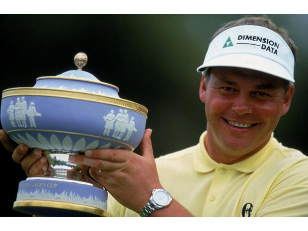 Darren Clarke with the Accenture World Matchplay at La Costa in 2000.