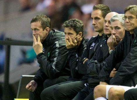 Celtic manager Ronny Deila (left) and backroom team look dejected during the Champions League Qualifying at Murrayfield, Edinburgh. PRESS ASSOCIATION Photo. Picture date: Wednesday August 6, 2014. See PA story SOCCER Celtic. Photo credit should read: Jeff Holmes/PA Wire