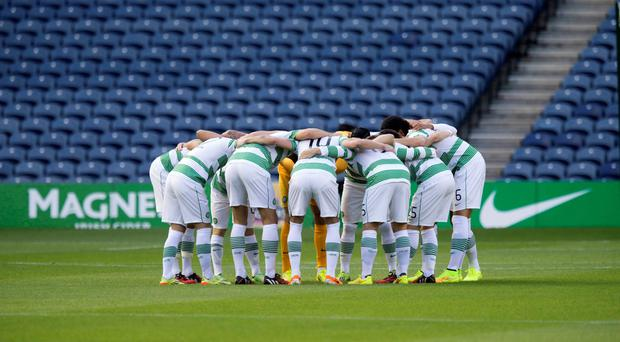 Celtic have a group huddle before the Champions League qualifying match