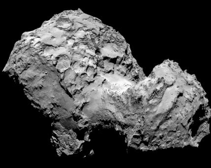 Comet 67P/Churyumov-Gerasimenko as photographed by Rosetta's OSIRIS camera from a distance of 285 km