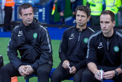 Celtic manager Ronny Deila (left) and assistants John Collins and John Kennedy during the Champions League to Legia Warsaw at Murrayfield.