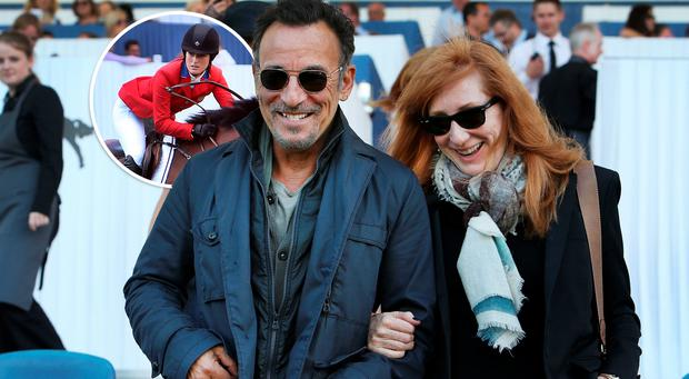 Bruce Springsteen and wife Patti Scialfa at the Dublin Horse Show at the RDS yesterday. Inset: Springsteen's showjumping daughter Jessica (22)