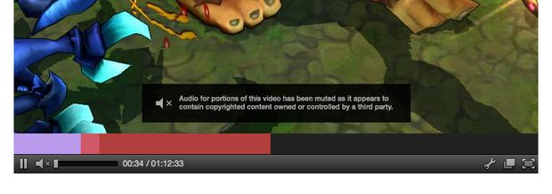 This is how Twitch will notify players of a muted section of video.