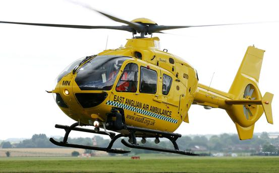 EMBARGOED TO 1300 THURSDAY AUGUST 7 An East Anglian Air Ambulance as it takes off from Cambridge Airport, in Cambridgeshire. The Duke of Cambridge will train as an air ambulance pilot before taking up a full time role next year, Kensington Palace has confirmed. PRESS ASSOCIATION Photo. Picture date: Wednesday August 6, 2014. William will begin a civilian pilot course next month followed by dedicated 999-response training. If successful he will join the East Anglian Air Ambulance based at Cambridge Airport in spring next year. See PA story ROYAL William. Photo credit should read: Chris Radburn/PA Wire