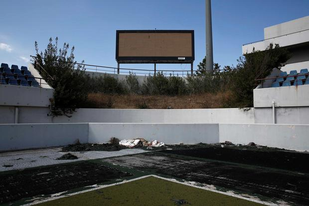 The abandoned stadium which hosted the hockey competition during the Athens 2004 Olympic Games is seen at the Hellenikon complex south of Athens