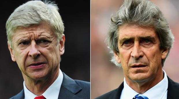 Manuel Pellegrini, right, and Arsene Wenger are the dominant figures at their clubs. Photo credit: Mike Hewitt/Getty Images