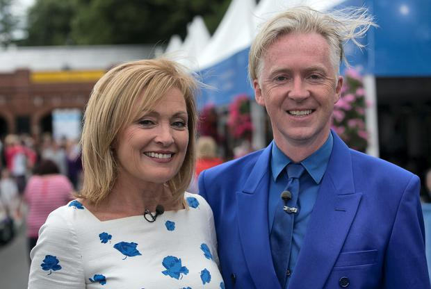 Mary Kennedy & Philip Treacy during the discover ireland Dublin Horse show at the RDS , Dublin. Photo: Gareth Chaney Collins