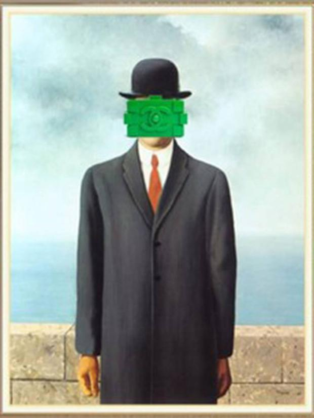'Identity Theft.' Original: The Son of Man by René Magritte. Added: Green Chanel Lego Bag Chris Rellas/Copylab