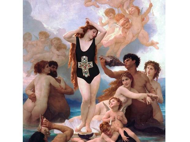 'Venus, Clothed.' Original: The Birth Of Venus by William Adolphe Bouguereau. Added: Nasty Gal swimsuit Chris Rellas/Copylab