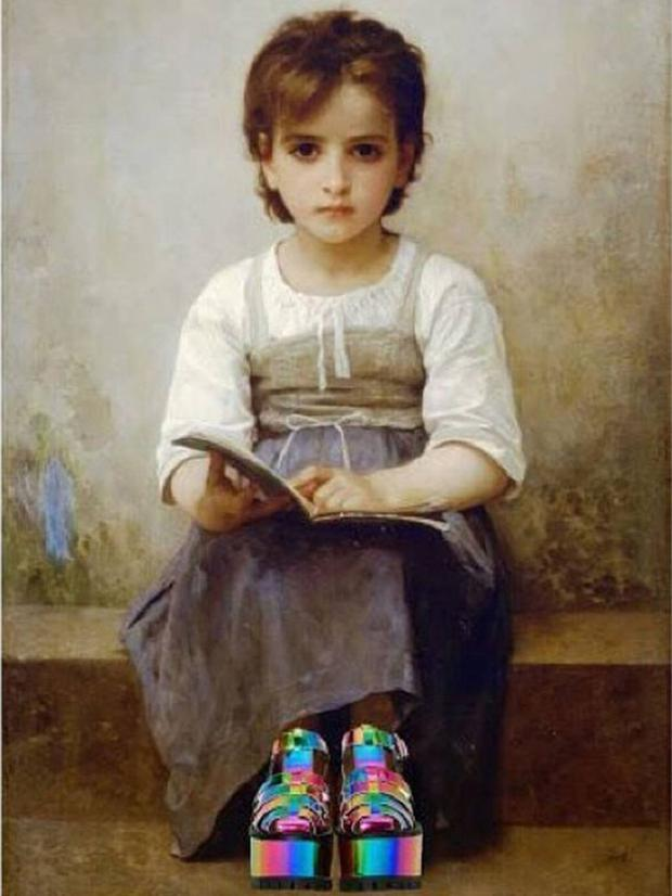 'Future Freak.' Original: The Hard Lesson by William Adolphe Bouguereau. Added: Yru shoes Chris Rellas/Copylab