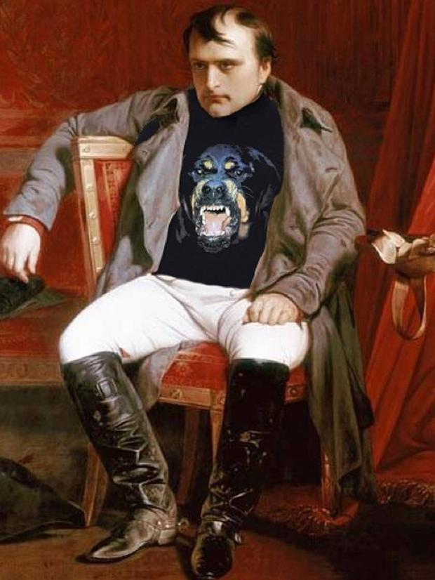 'Visibly Upset.' Original: Napoleon Emperor Defeated At Fontainebleau by Paul Hippolyte Delaroche. Added: Givenchy Rottweiler Shirt Chris Rellas/Copylab