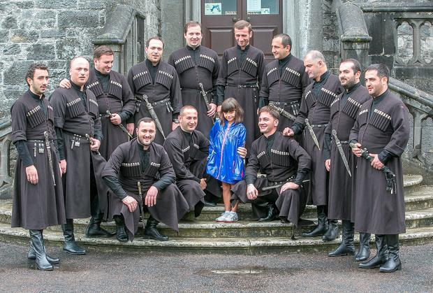 he Basiani Ensemble from Georgia were serenading six year old Elsa Marhuenda from Spain in the gardens of Kilkenny Castle to mark the opening day of the Kilkenny Arts Festival 2014. Photo: Pat Moore.