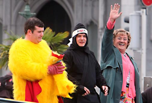 Pictured during filing of Mrs. Brown's D'Movie at Capel St Bridge were Paddy Houlihan, 'Dermot' Danny O'Carroll, 'Buster' and Brendan O'Carroll, 'Mrs Brown""