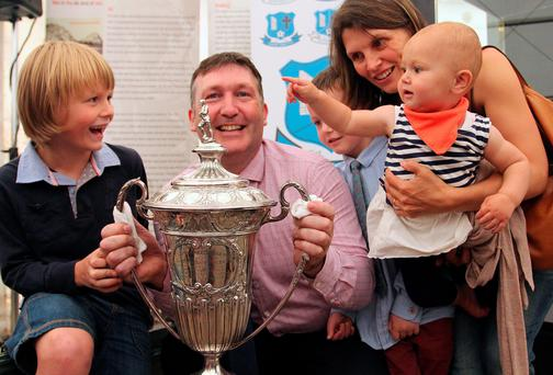 Alo Mohan, Trustee of the Lipton Cup, and his family Matthew, Louis, wife Yvonne and daughter Lara at the unveiling of the cup at the Taste of Cavan food festival on Friday afternoon. Photo: Lorraine Teevan