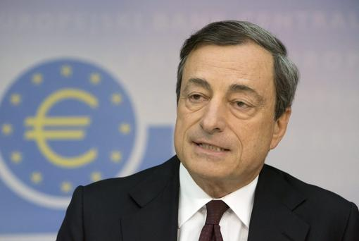 European Central Bank President Mario Draghi said geopolitical risks in countries such as Ukraine could hurt economic recovery