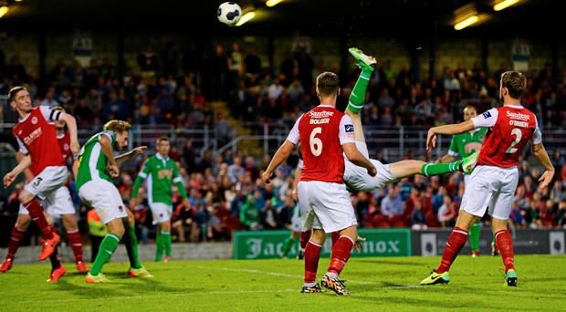 8 August 2014; Colin Healy, Cork City, scores his side's first goal. SSE Airtricity League Premier Division, Cork City v St Patrick's Athletic, Turner's Cross, Cork. Picture credit: Diarmuid Greene / SPORTSFILE