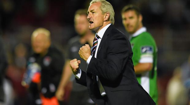 Cork City manager John Caulfield celebrates after victory over St Patrick's Athletic. Diarmuid Greene / SPORTSFILE