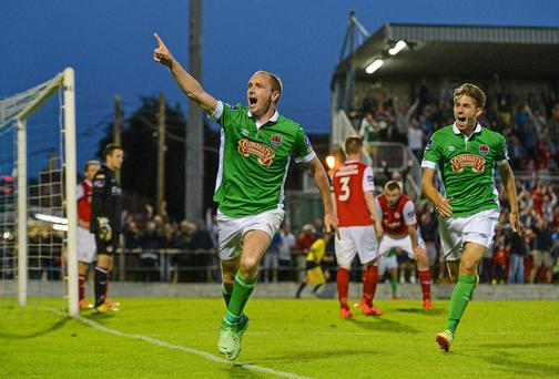 Colin Healy, Cork City, celebrates after scoring his side's first goal. Diarmuid Greene / SPORTSFILE