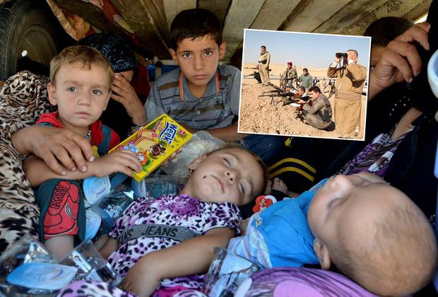 Refugees from the violence in the Iraqi province of Nineveh arrive at Sulaimaniya province. Inset: Kurdish peshmerga troops participate in an intensive security deployment against Islamic State militants on the front line in Khazer