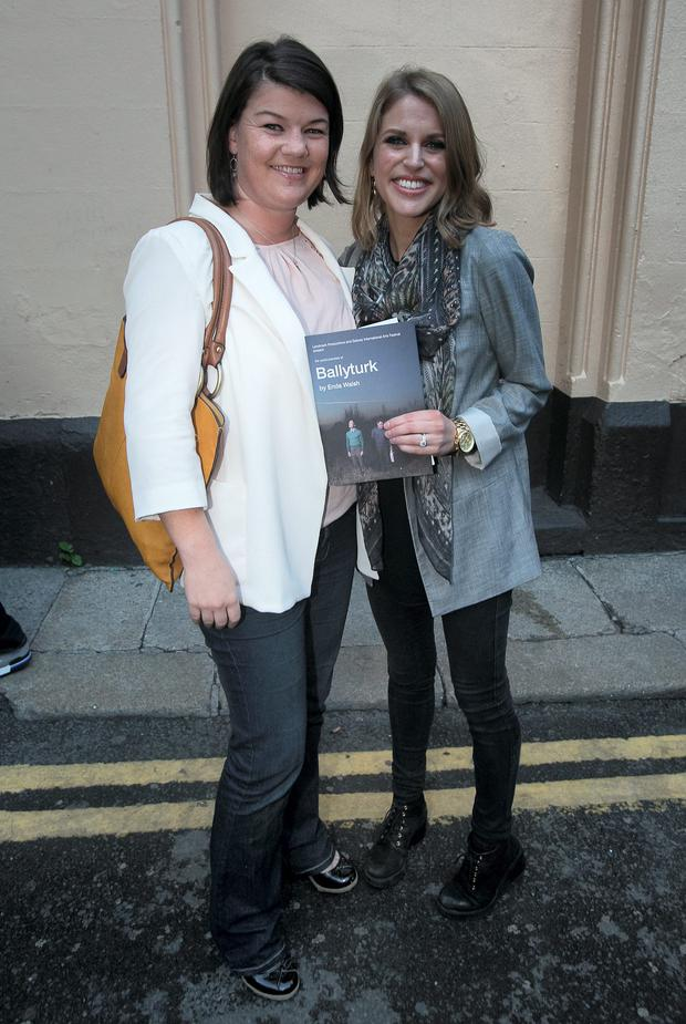 (L to r) Susan Bradley & Amy Huberman arrive for the official opening of Ballyturk at the Olympia Theatre, Dublin. Photo: Gareth Chaney Collins