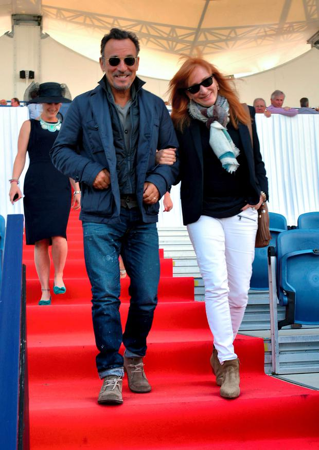 Bruce Springsteen and wife Patti Scialfa at the RDS Horse Show 2014