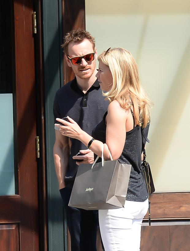 Actor Michael Fassbender is seen in SoHo on August 8, 2014 in New York City. (Photo by Raymond Hall/GC Images)