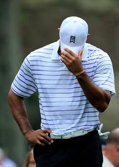 Tiger Woods looking distressed at Valhalla