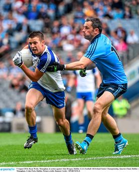 9 August 2014; Ryan Wylie, Monaghan, in action against Alan Brogan, Dublin. GAA Football All-Ireland Senior Championship, Quarter-Final, Dublin v Monaghan, Croke Park, Dublin. Picture credit: Ramsey Cardy / SPORTSFILE