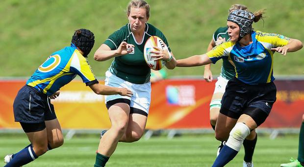 Laura Guest, Ireland, in action against the Kazakhstan defence