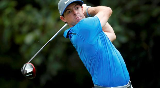 Rory McIlroy in action during the third round of the USPGA