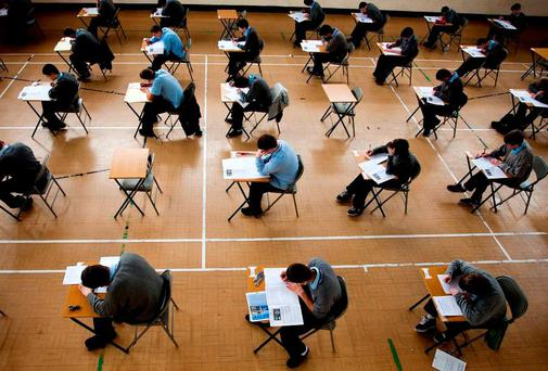 06-06-2012. Students from St Kevin's C.B.S, Arklow, Co Wicklow in the exam hall for the start of the 2012 Leaving and junior certificate exams. Picture: Garry O'Neill
