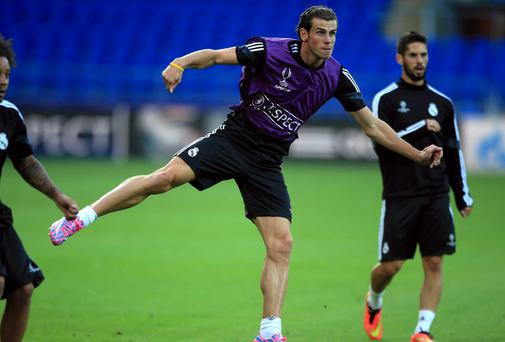 Real Madrid's Gareth Bale during a training session at Cardiff City Stadium last night. Photo credit: Nick Potts/PA Wire