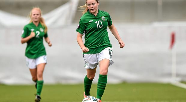 Raheny United forward, Clare Shine, pictured representing the Republic of Ireland earlier this year. Picture credit: Stephen McCarthy / SPORTSFILE