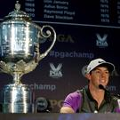 A delighted Rory McIlroy talks to the media after landing his second USPGA at Valhalla in 2014