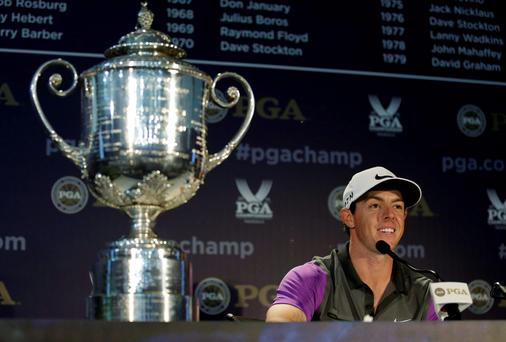 A delighted Rory McIlroy talks to the media after landing his second USPGA at Valhalla