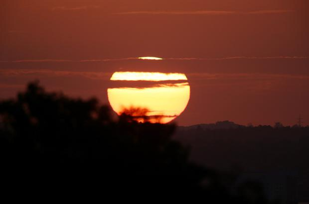 A view of the sunrise from Alexandra Palace, north London. Photo: Yui Mok/PA Wire