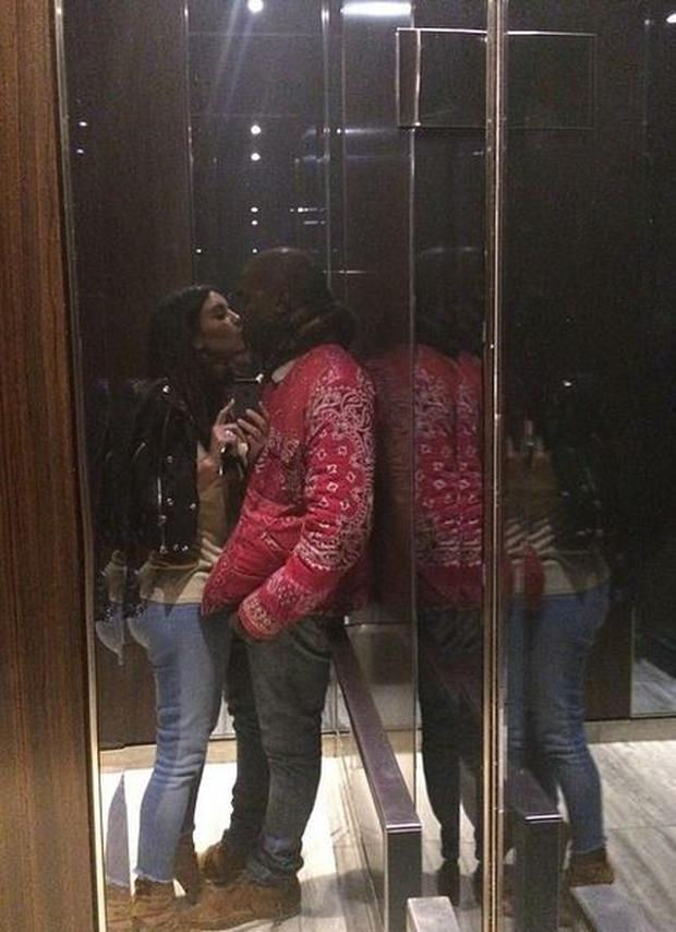 Kim posted a romantic selfie kissing Kanye in the luxurious apartment building's elevator and captioned it 'Elevator kiss' (Photo: Instagram/Kim Kardashian)