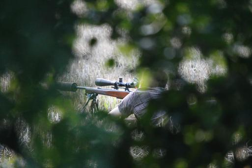Man hunting with rifle near public track on the outskirts of Clonsilla in Dublin. Picture by Andrea McDonagh