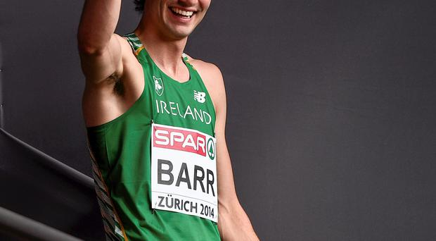12 August 2014; Ireland's Thomas Barr after winning his heat of the men's 400m hurdle event, in a time of 49.79. European Athletics Championships 2014 - Day 1. Letzigrund Stadium, Zurich, Switzerland. Picture credit: Stephen McCarthy / SPORTSFILE