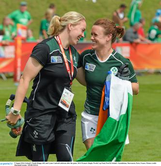 Ireland's Niamh Briggs, left, and Lynne Cantwell celebrat qualification for the semi-final