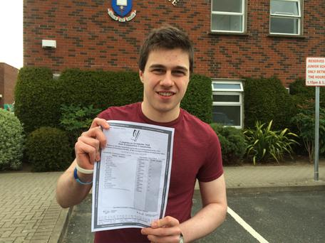 Conor Gallagher - with his incredible 9A1s Leaving Cert results. Photo: Orlagh Bailey