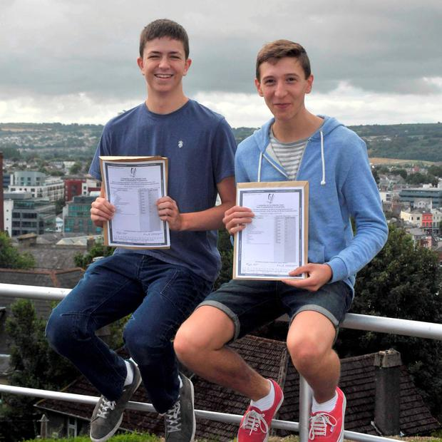 Jack Hartnett, Montenotte, and Tim Fannon, Cobh, who received 8 A1s (Higher), in their Leaving Cert at Christian Brothers College, Cork. Pic: Provision