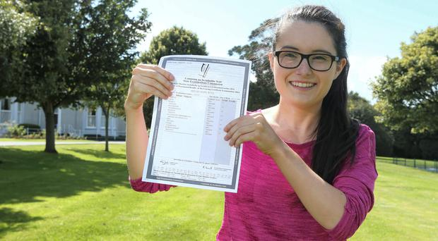 Megan Ross, 19, a student in St Joseph of Cluny Secondary School in Killiney, Megan got eight A1s in her Leaving Cert results. Photo: Damien Eagers