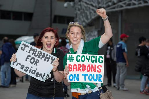 Enjoying the build up to the Women's World cup semi final against England in Paris are from left, Caoimhe O'Dwyer from Clare and Emma Doyle from Kildare. Pic:Mark Condren
