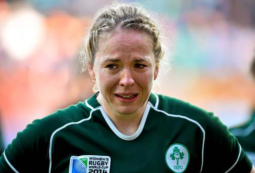 A tearful Niamh Briggs after Ireland were beaten 40-7 by England in the Women's Rugby World Cup semi-final at the Stade Jean Bouin in Paris. Photo: Brendan Moran / Sportsfile